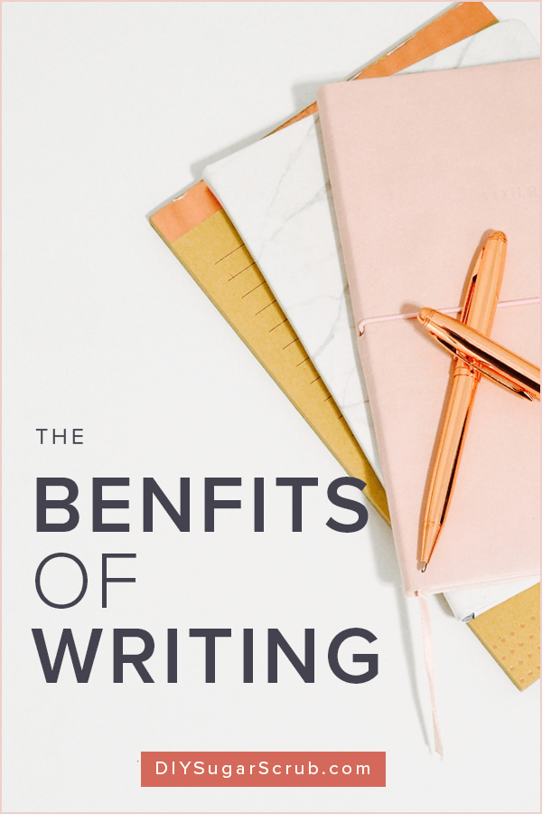 The simple act of jotting down your thoughts on paper helps reduce stress, strengthen relationships and unlock creativity. Learn how to tap into the benefits of writing to improve your well-being. | #DIYSugarScrub #SelfCare